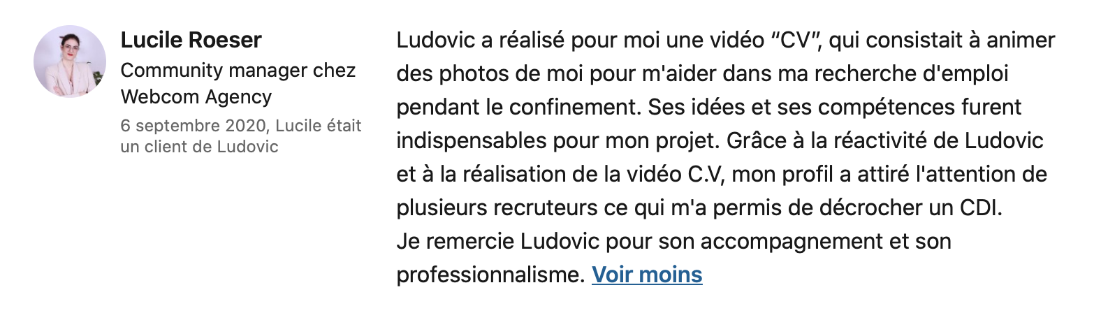 Commentaire Linkedin